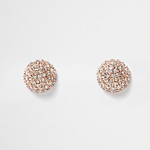 Rose gold tone gem circle stud earrings