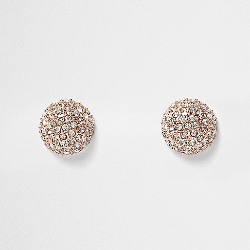 Rose gold tone gem circle stud earrings