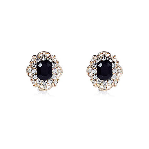 Gold tone sparkly gemstone stud earrings