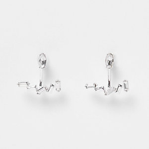Silver tone baguette stone earrings