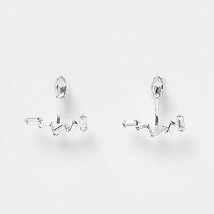 Boucles d'oreilles argentées avec pierre et barre