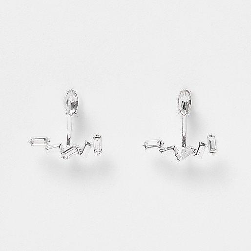 Silver tone baguette stone earrings