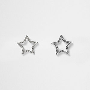 Silver tone gem star stud earrings