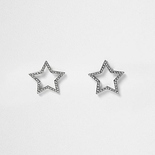 Silver tone gem star stud earrings