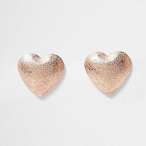 Rose gold sand blast heart earrings