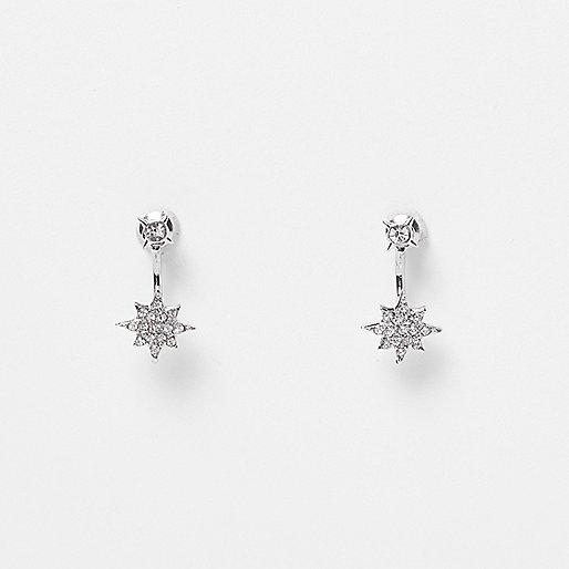 Silver tone encrusted spike drop earrings