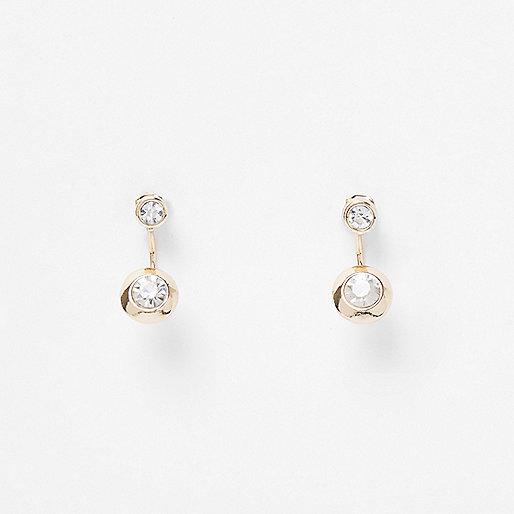 Goldene Ohrringe mit Kristall vorn und hinten