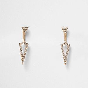 Gold tone spike drop earrings