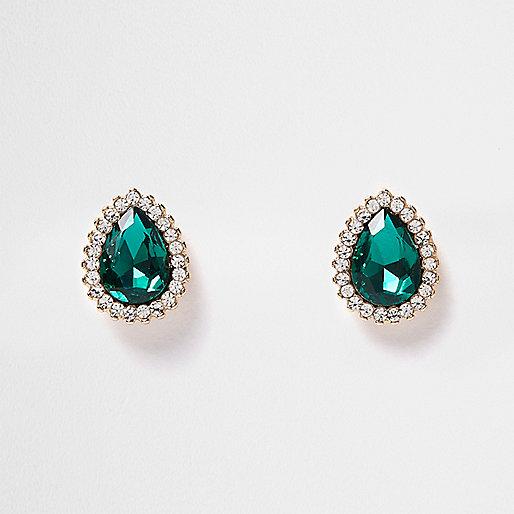 Emerald gem teardrop earrings