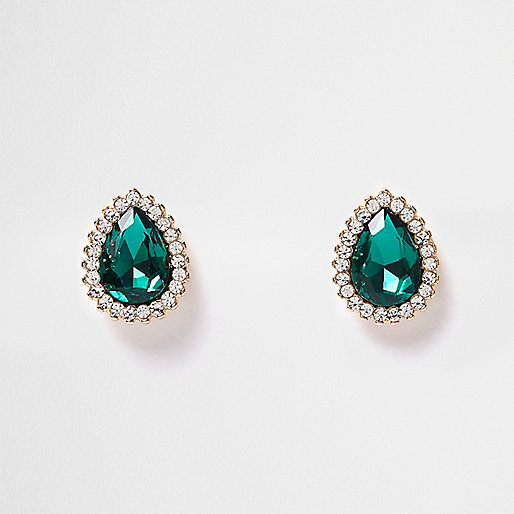 Emerald gem teardrop earrings