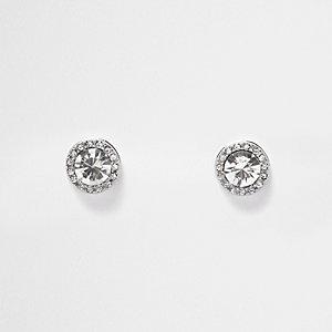 Silver tone oversized stud earrings