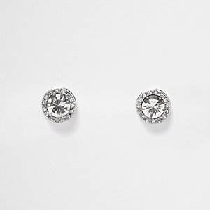 Silver tone oversized stud earrings