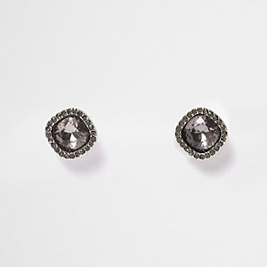 Dark silver tone crystal stud earrings