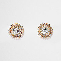 Gold tone crystal circle stud earrings