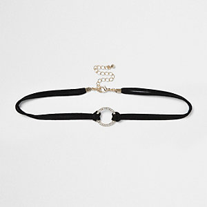 RI Plus black circle pendant choker
