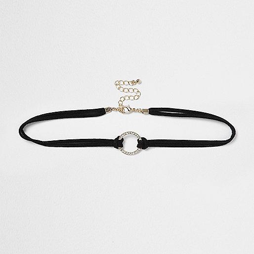 Plus – Schwarze, enge Halskette mit Anhänger