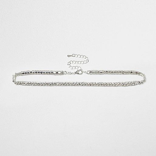 Plus silver tone diamanté choker