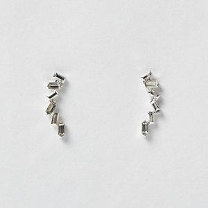 Silver tone baguette stone ear cuffs