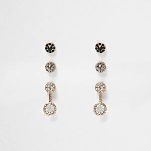 Gold tone gem encrusted earrings pack
