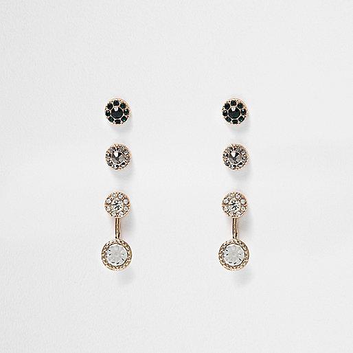 Gold tone gem encrusted earrings pack