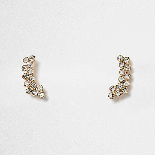 Gold tone gem encrusted bubble ear cuffs