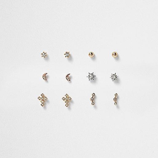 Lot de clous d'oreilles motifs variés dorés avec pierre effet cristal