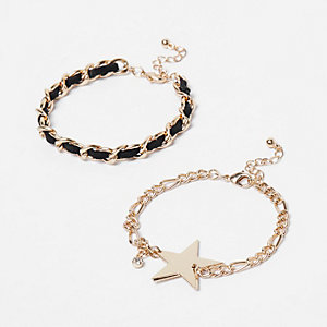 Gold tone chain bracelet pack