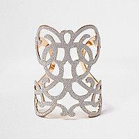 Gold tone filigree cuff bracelet