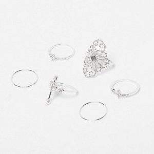 Silver tone diamanté rings pack