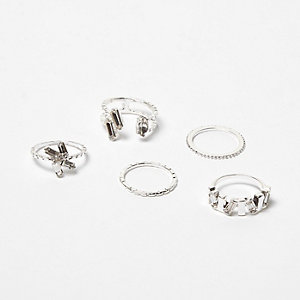 Silver tone gemstone rings pack