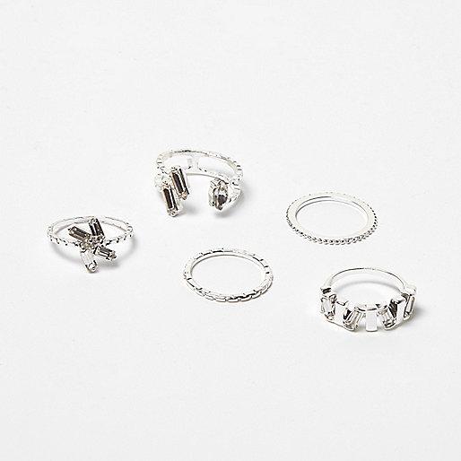 Silver tone gemstone rings pack
