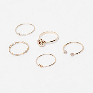 Gold tone embellished rings pack