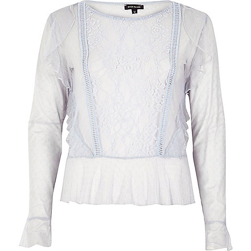 Light blue mesh lace top