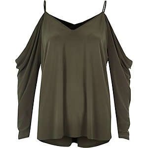 Khaki ruched cold shoulder top
