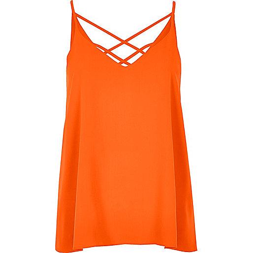 Caraco orange à fines bretelles