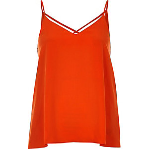 Bright orange strappy cami top