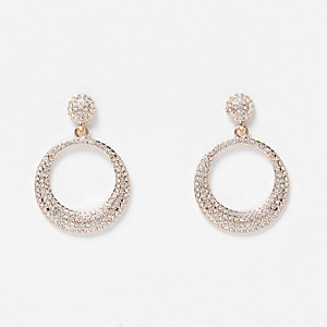 Gold tone encrusted circle drop earrings