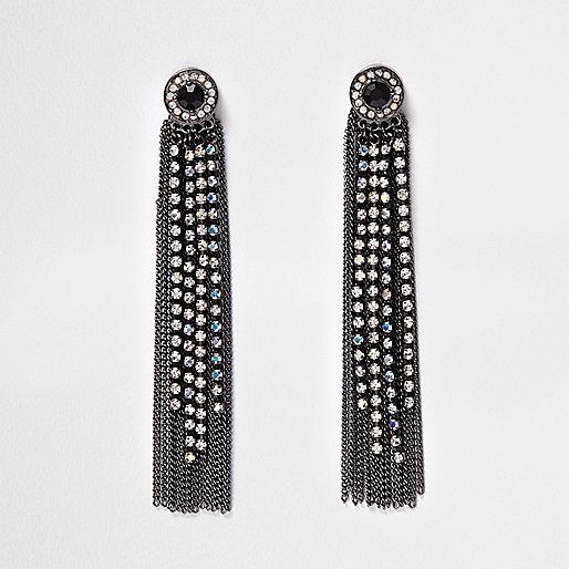 Gunmetal chain dangly earrings