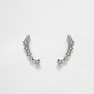 Silver tone crystal star ear cuffs