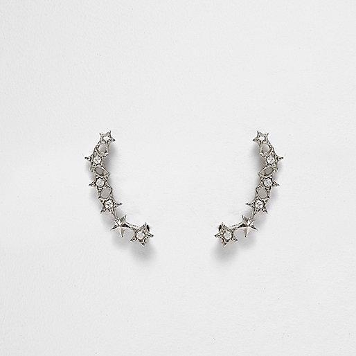 Silver tone crystal star ear cuffs