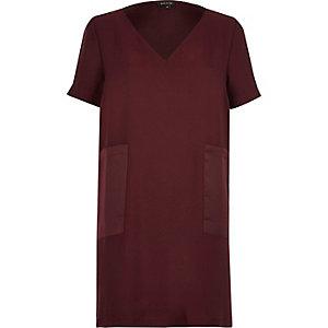 Dark red panel pocket T-shirt dress