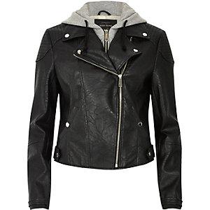 Schwarze Biker-Jacke mit Kapuze