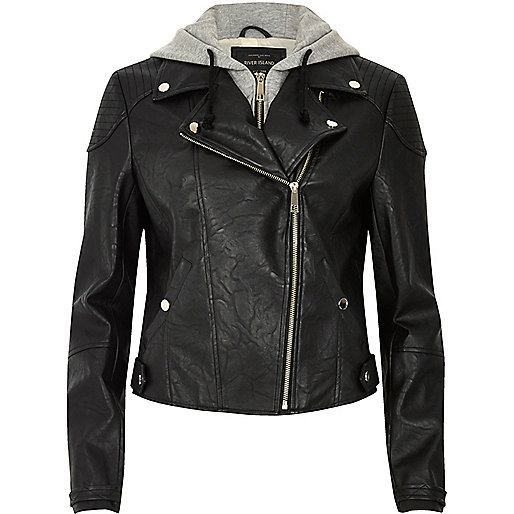 Black hooded biker jacket