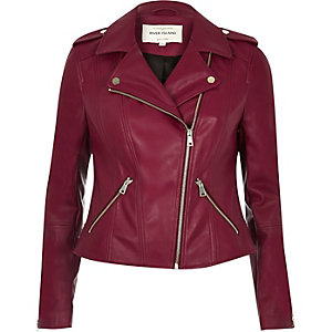 Dark red leather look biker jacket