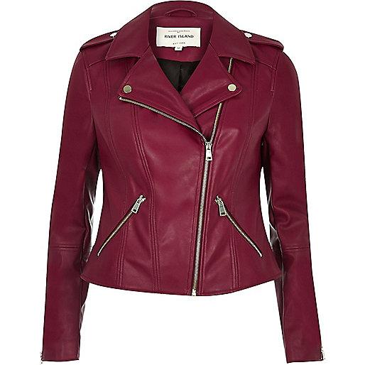 Dark red leather look biker jacket