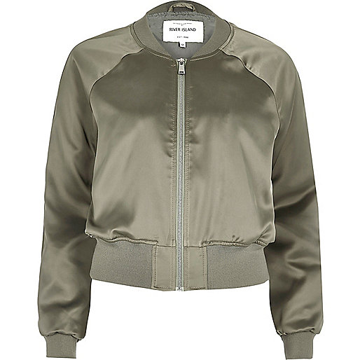 Khaki satin bomber jacket