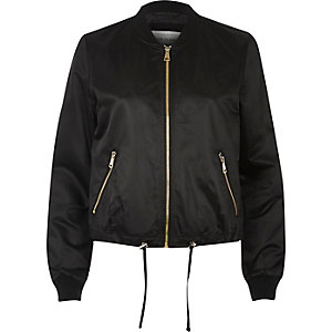 Black drawstring bomber jacket