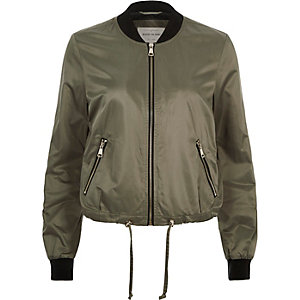 Khaki green drawstring bomber jacket