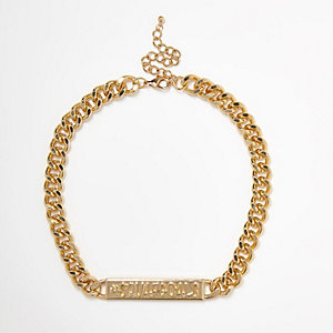 Gold tone '#squadgoals' chain necklace