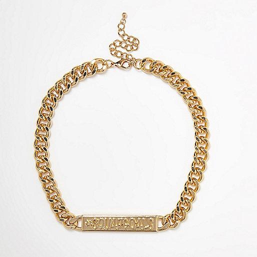 Collier chaîne dorée à pendentif «#squadgoals»